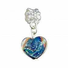 Серебряный шарм-подвес Сердце Тихого океана с муранским стеклом