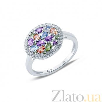 Серебряное кольцо с разноцветными цирконами Мозаика AQA--KHT-0132-R1m