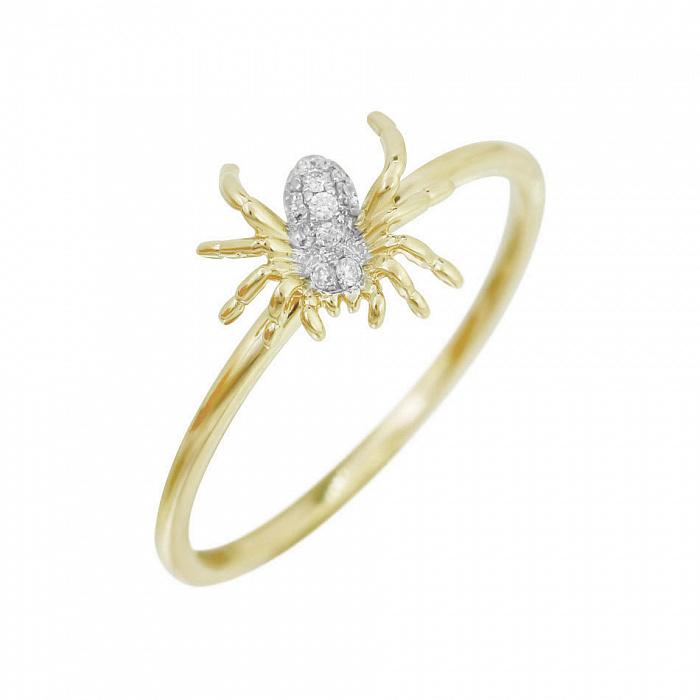 Кольцо из желтого золота Паучок с бриллиантами 000080969