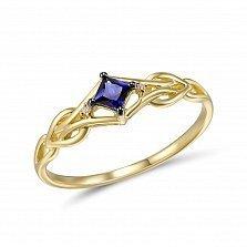 Кольцо из желтого золота с бриллиантами и сапфиром Василиса
