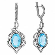 Серебряные серьги-подвески Василиса с голубым кварцем и цирконием