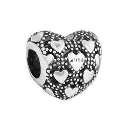 Серебряный шарм-сердце с чернением и родированием 000131881