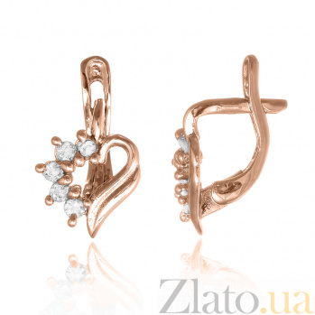 Позолоченные серебряные сережки с фианитами Любовное послание SLX--С3Ф/014