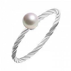 Серебряное кольцо Свинг с крученой шинкой и белой жемчужиной