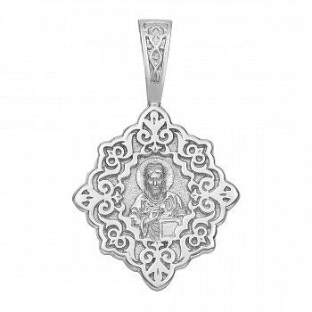 Серебряная узорная ладанка Господь Вседержитель с молитвой на тыльной стороне 000125244