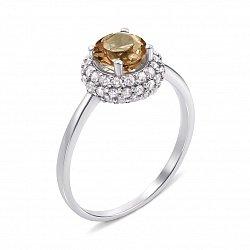 Серебряное кольцо с раухтопазом и фианитами 000136429