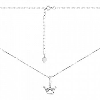 Срібне кольє з підвіскою-короною в якірному плетінні 000134141