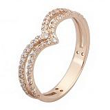 Золотое кольцо с фианитами Чайка