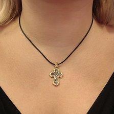 Серебряный крестик с позолотой и чернением Небесная звезда