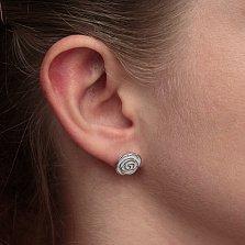 Серебряные серьги-пуссеты Белые розы с эмалью
