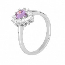 Серебряное кольцо с фиолетовым фианитом Пенелопа