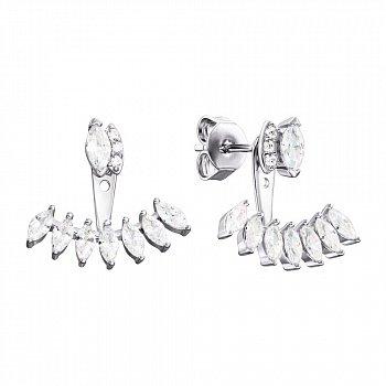 Серебряные серьги-джекеты с фианитами 000134007