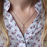 Золотой крестик Альтенда в красном цвете с бриллиантами