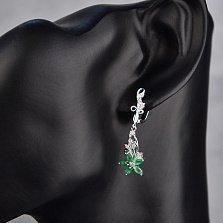 Серебряные серьги-подвески Роксана с зелеными агатами и фианитами