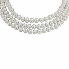 Жемчужное ожерелье Эстель с серебряным замком, р.100