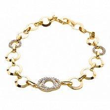 Золотой браслет Харри в желтом цвете с белыми фианитами