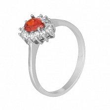 Серебряное кольцо с красным фианитом Пенелопа