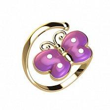Кольцо в красном золоте Веселая бабочка с эмалью