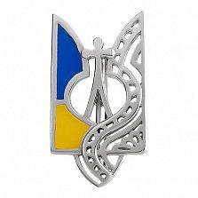 Серебряный значок с эмалью Трезубец