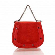 Кожаный клатч на каждый день Genuine Leather 1708 красного цвета с ручкой-цепочкой через плечо