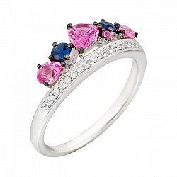 Кольцо из белого золота с бриллиантами, розовыми и синими сапфирами 000081005
