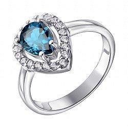 Серебряное кольцо с лондон топазом и фианитами 000137298