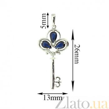 Золотой подвес Чудо-ключик в белом цвете с сапфирами и бриллиантом 000029406