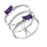 Фаланговое кольцо Эра из белого золота с аметистами и бриллиантами