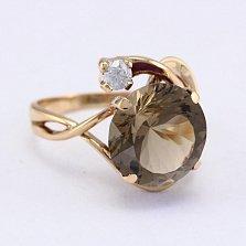 Золотое кольцо с раухтопазом и фианитом Джунгли
