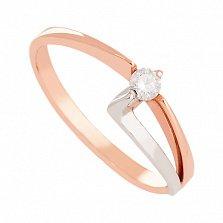Золотое кольцо с бриллиантом Современный стиль