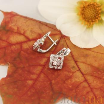 Серебряные родированные серьги Карлайла с фианитами 000082882