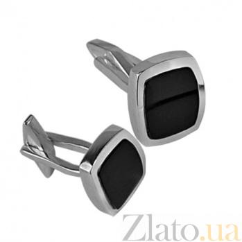 Серебряные запонки с ониксом Бизнес BGS--02о/з