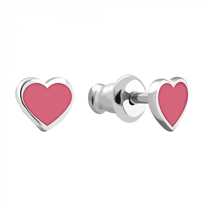 Серебряные пуссеты-сердечки с розовой эмалью и родием 000067276 000067276