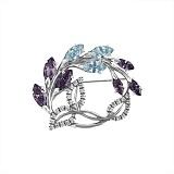 Брошь из серебра Цветущая ветвь с разноцветными фианитами