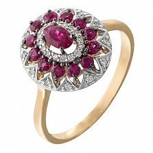 Золотое кольцо Анджали с рубинами и бриллиантами
