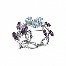 Брошь из серебра Цветущая ветвь с синими фианитами