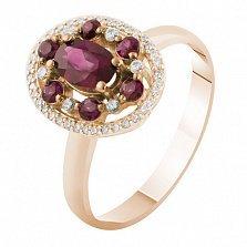 Кольцо из красного золота Аврора с рубинами и бриллиантами