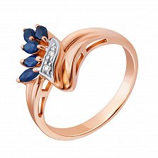 Золотое кольцо в красном цвете с бриллиантами и сапфирами Ибби