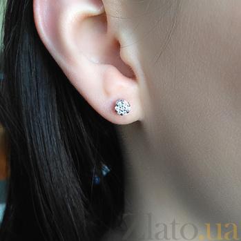 Серебряные серьги-пуссеты Селин с бриллиантами 000022345
