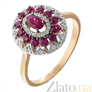 Золотое кольцо с рубинами и бриллиантами Анджали KBL--К1925/крас/руб