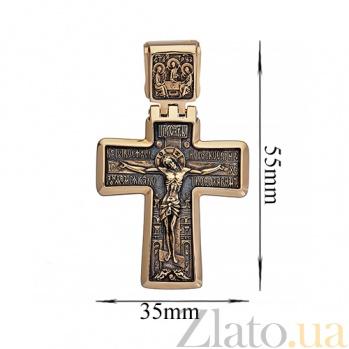 Золотой крест с чернением Милосердие Господне ONX--п01877