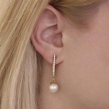 Золотые серьги-подвески Астания с белым жемчугом и бриллиантами