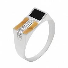 Серебряное кольцо с золотой вставкой, ониксом и цирконием Дионис