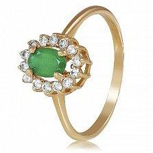 Золотое кольцо Ванесса с зеленым ониксом и фианитами