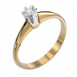 Кольцо в комбинированном цвете золота с бриллиантом 000000460