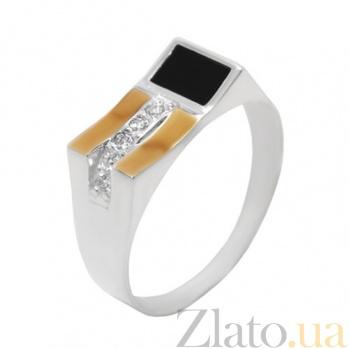 Серебряное кольцо с золотой вставкой, ониксом и цирконием Дионис BGS--345к