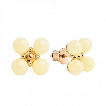 Позолоченные серебряные серьги-пуссеты с четырьмя бусинами лимонного янтаря 000118938