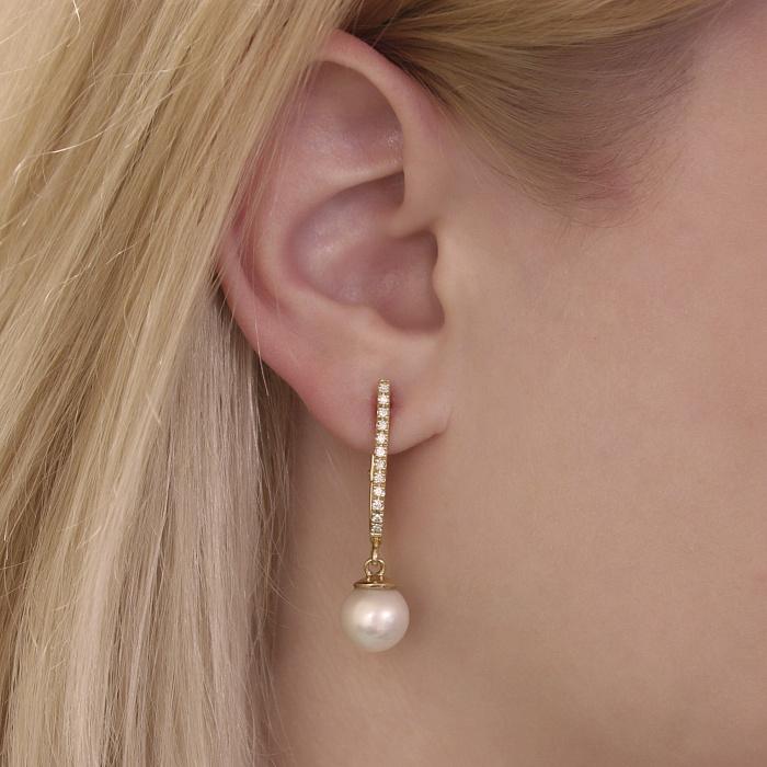 Золотые серьги-подвески Астания с белым жемчугом и бриллиантами 000093963