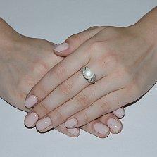 Серебряное кольцо Стихия с белым жемчугом и фианитами