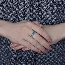 Кольцо из красного золота Аллея с темно-голубыми топазами swiss blue